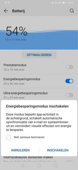 Huawei P30 energiebesparing