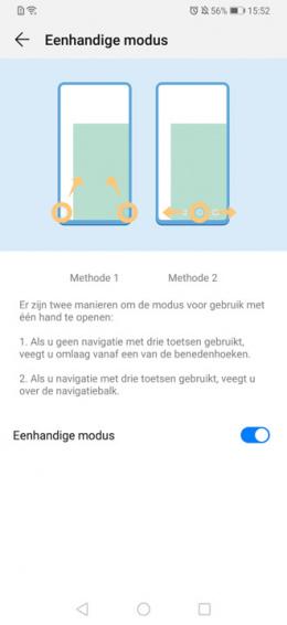 Huawei P30 een hand modus