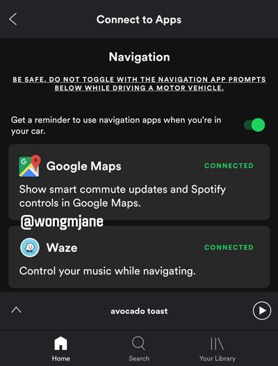 Spotify navigatie-integratie