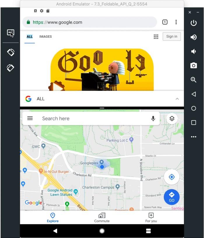 Android Q Beta 2 vouwbare emulator