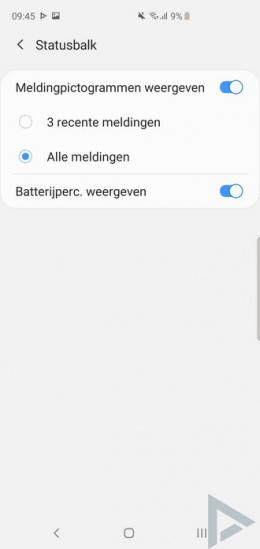 Galaxy S10 batterijpercentage