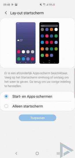 Galaxy S10 lay-out startscherm menu