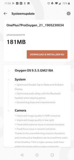 OnePlus 7 Pro Oxygen OS 9.5.5
