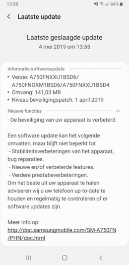 Samsung Galaxy A7 april patch
