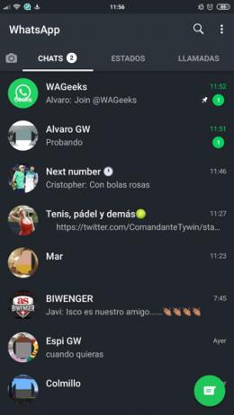 WhatsApp donker thema