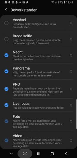 Galaxy S9 Note 9 nachtmodus
