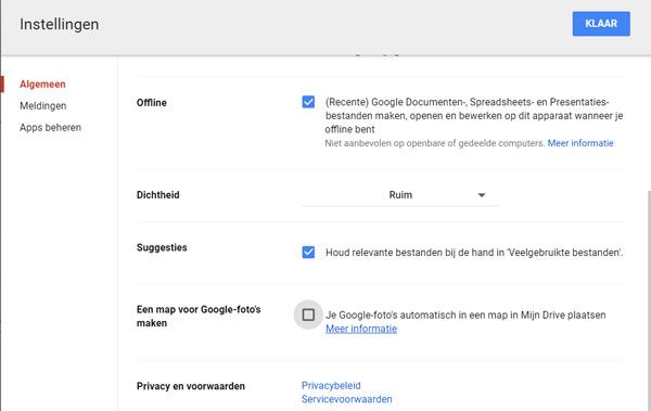 Google Drive Foto's synchronisatie