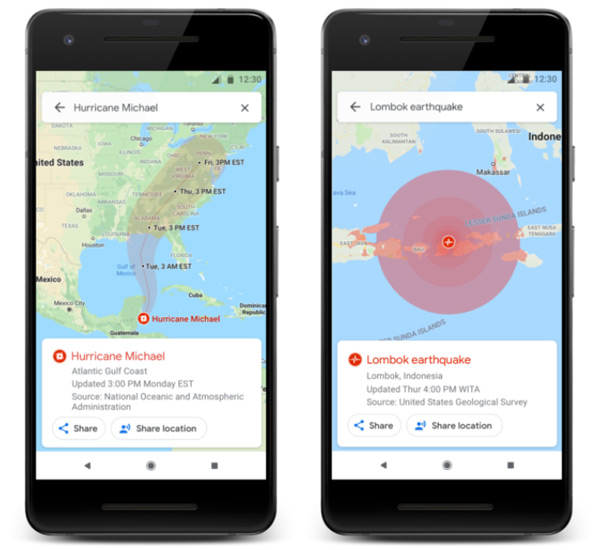 Google Maps natuurrampen