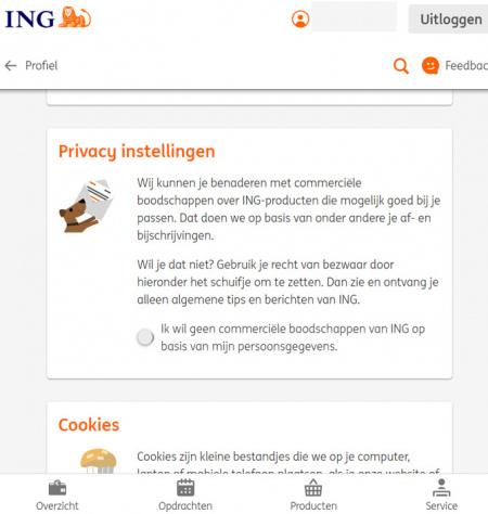 ING privacy instellingen