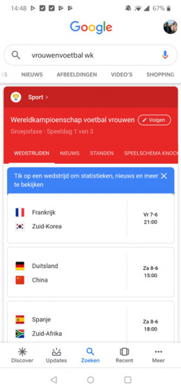 WK Vrouwenvoetbal 2019 google
