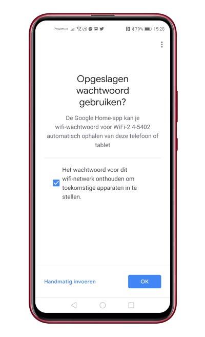Opgeslagen wachtwoord gebruiken Google Home app
