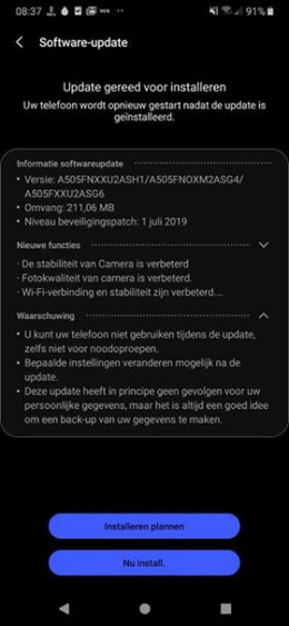 Galaxy A50 juli-patch