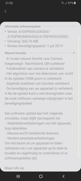 Galaxy A70 juli-patch