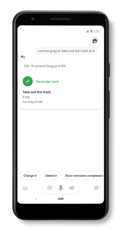 Google Assistent herinnering partner