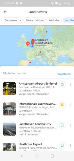Google Maps tijdlijn plaatsen