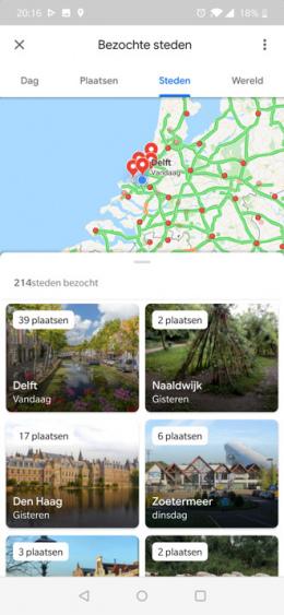 Google Maps tijdlijn steden