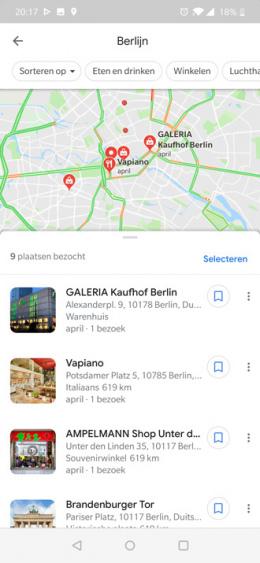 Google Maps tijdlijn locatie