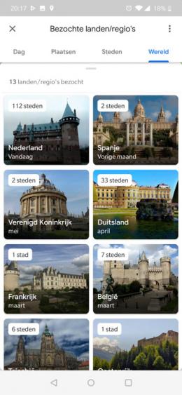 Google Maps tijdlijn landen