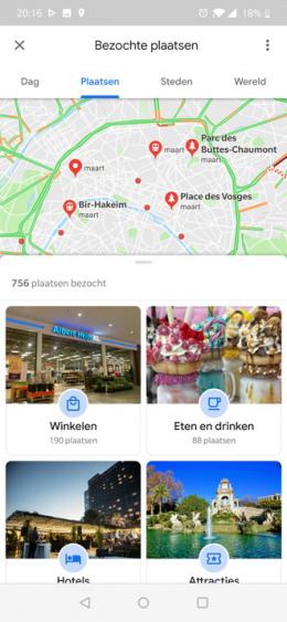 Google Maps plaatsen tijdlijn