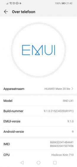 Huawei Mate 20 Lite EMUI 9.1