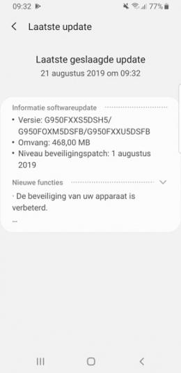 Samsung Galaxy S8 augustus-update