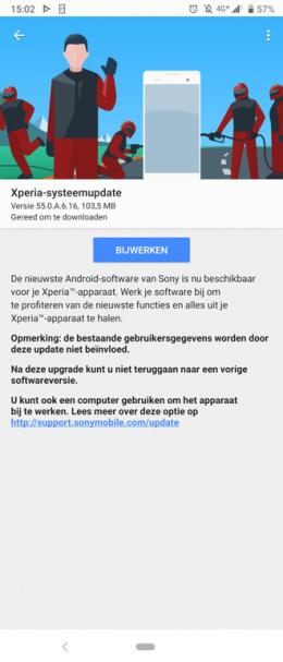 Sony Xperia 1 beveiligingsupdate augustus 2019
