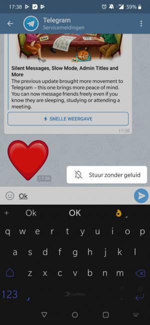 Stuur bericht zonder geluid in Telegram