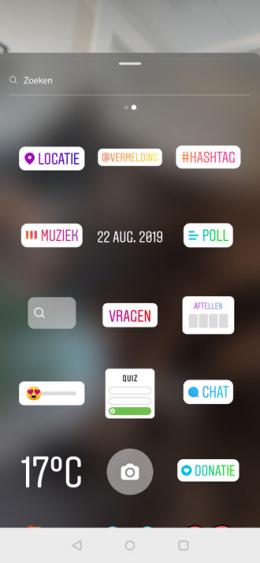 Instagram muziek sticker
