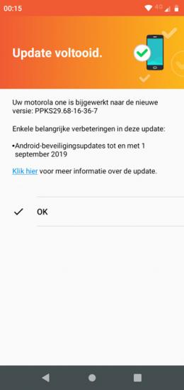 Motorola One beveiligingsupdate september 2019