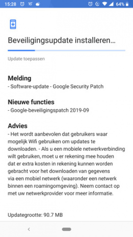 Nokia 6.1 beveiligingsupdate september 2019