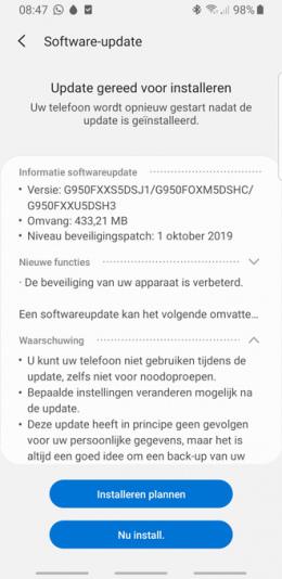 Galaxy S8 oktober 2019