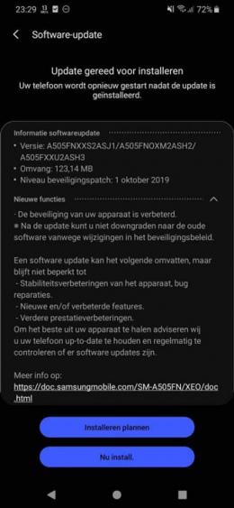 Galaxy a50 oktober update