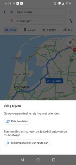 Google Maps Veilig blijven