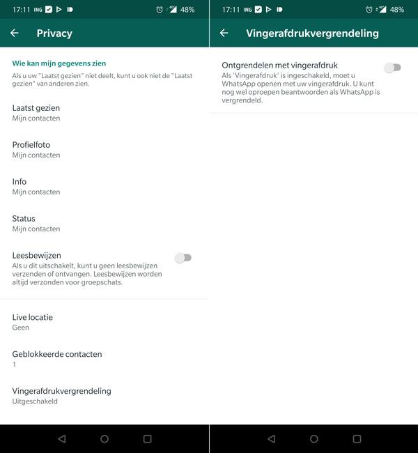 WhatsApp vingerafdruk