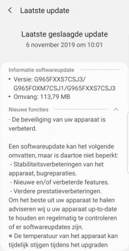 Galaxy S9 november update