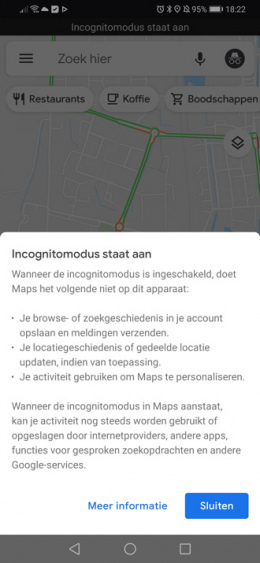 Google Maps incognitomodus