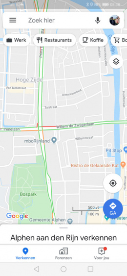Google Maps locatiebalk