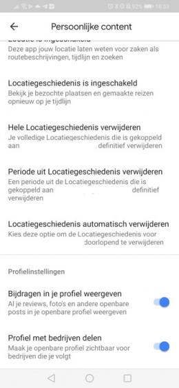 Google Maps profielsinstellingen