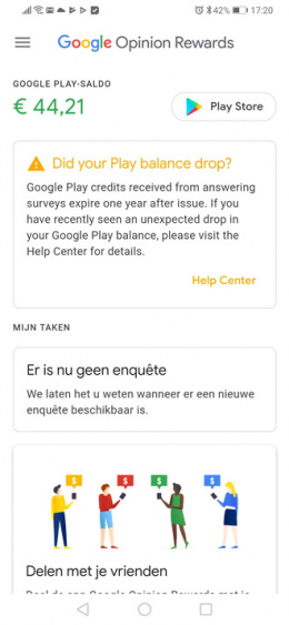 Google Opinion Rewards tegoed