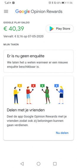Google Opinion Rewards tegoed