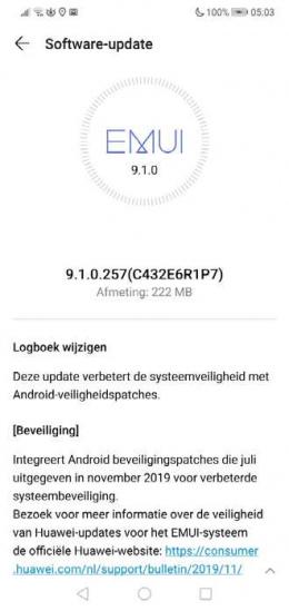Huawei P20 Lite beveiligingsupdate november 2019