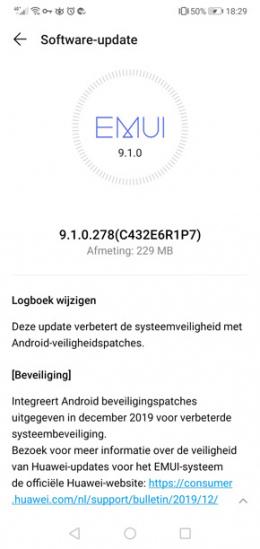 Huawei P20 Lite beveiligingsupdate december 2019