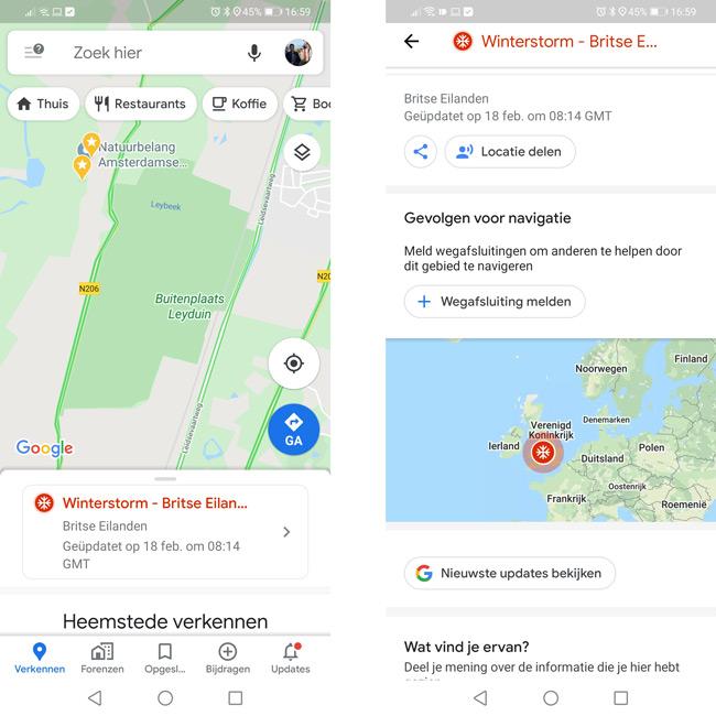 Google Maps SOS melding