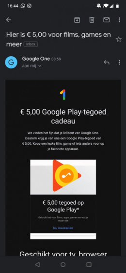 Google One Play Store tegoed