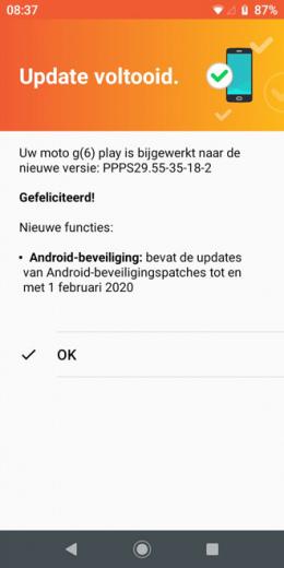 Moto G6 Play beveiligingsupdate februari 2020