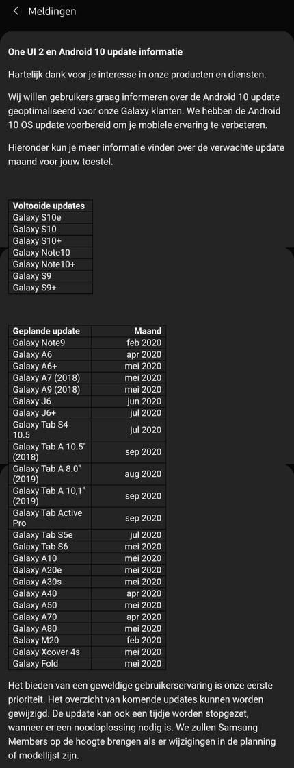 Samsung Android 10 Nederland