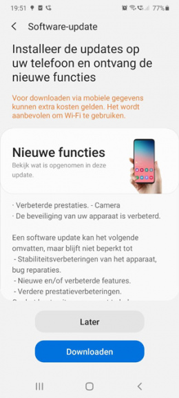 Samsung Galaxy S20 update maart 2020