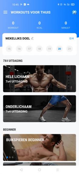 Workouts voor thuis app