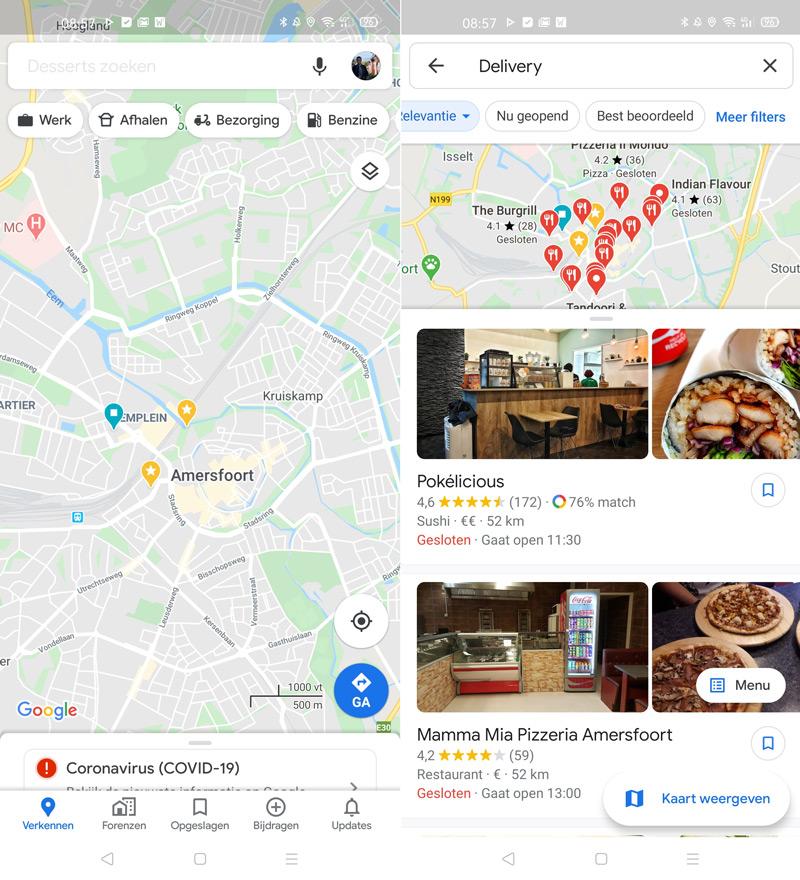 Google Maps afhalen bezorgen