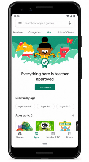 Google Play Store Kids sectie leerkracht